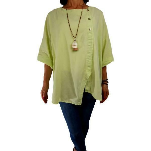b681f419 COTTONSEED USA XL/1X chartreuse cotton gauze top pullover ¾ slv spring tunic  #Cottonseed #Blouse #Versatile
