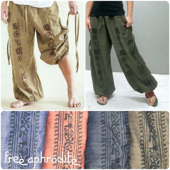 Festival Clothing Yoga Pants LONG Burning Man Drawstring Thai Pants Flow Pants Cotton Fire Safe Drop