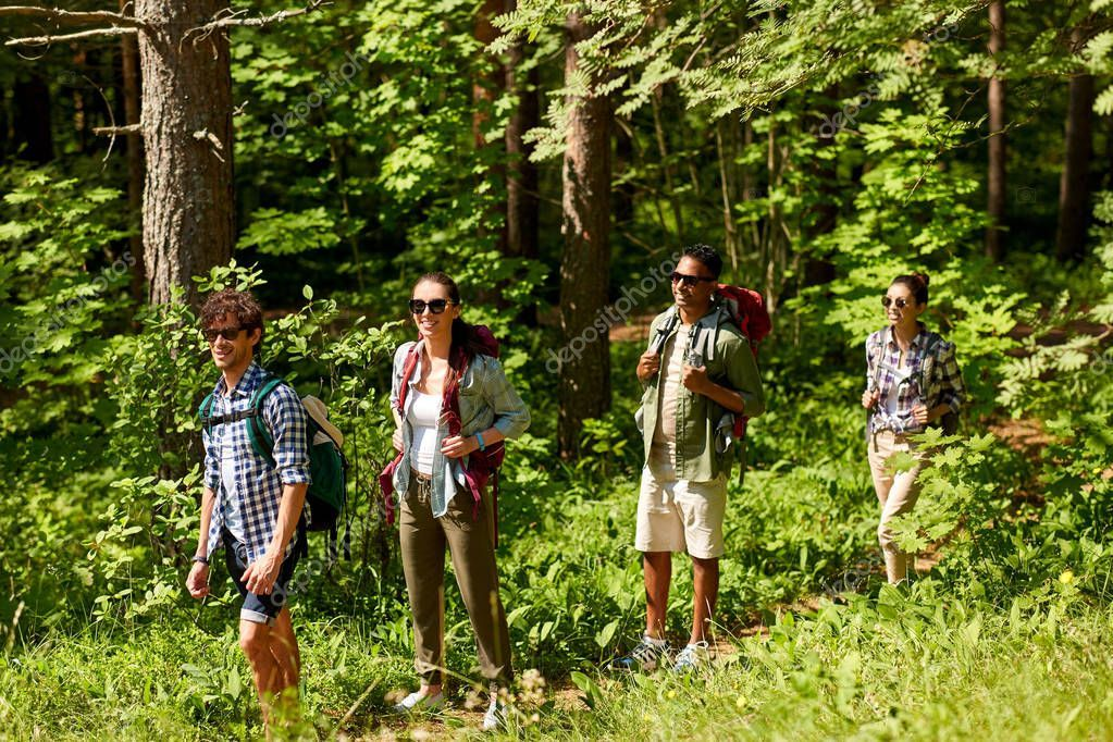 Group Of Friends With Backpacks Hiking In Forest Stock Photo Aff Backpacks Friends Group Hiking A Group Of Friends Photo Grouping Hiking Backpack