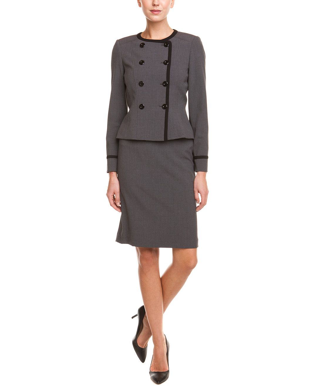 1f3d3e20e1f Tahari ASL Grey & Black Double-Breasted Skirt Suit | Suit Up ...