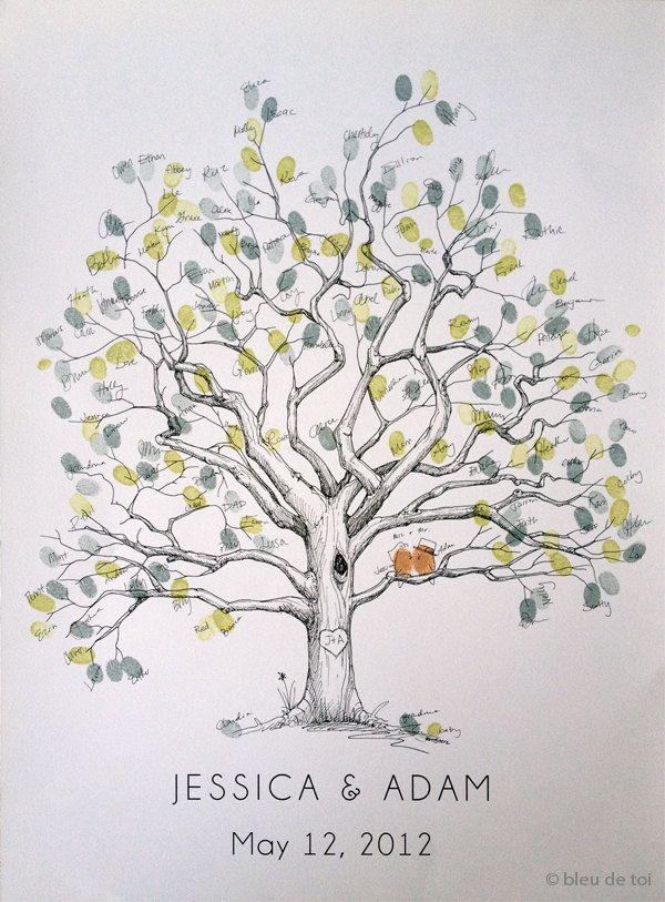 Lassen Sie einen Eindruck von einem unvergesslichen Tag, mit einer einzigartigen und persönlichen, Weise, Ihre Gäste aufnehmen! Interaktiv, kreativ und ein schönes Andenken für Jahre schätzen zu kommen! Anders als ein langweilig Gästebuch, der sitzt auf einem Tisch, verstaubt, ist dieses Gästebuch-Alternative ein kleines Kunstwerk an Ihre Wand hängen und täglich zu schätzen.  Wir personalisieren diese wunderschön gezeichneten Kahler Baum für Sie mit Ihrem gewünschten Text und Schriftart, und…