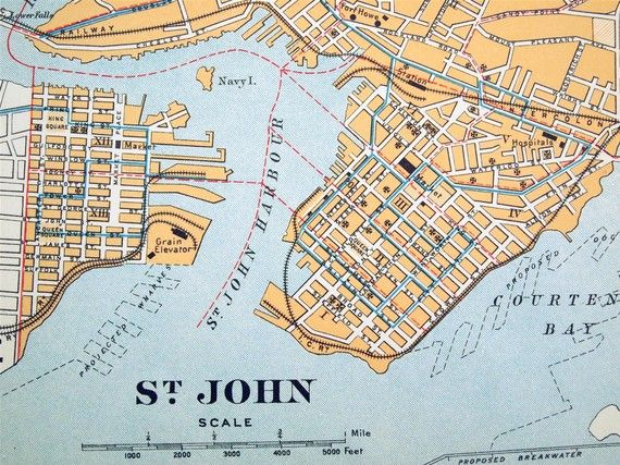 1915 Antique City Map of Saint John New Brunswick Canada City