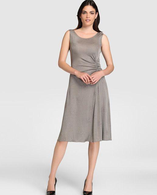 ee4988ee9 Vestido de mujer Armani Collezioni gris con purpurina. Vestido en color  gris con detalle de purpurina a contraste