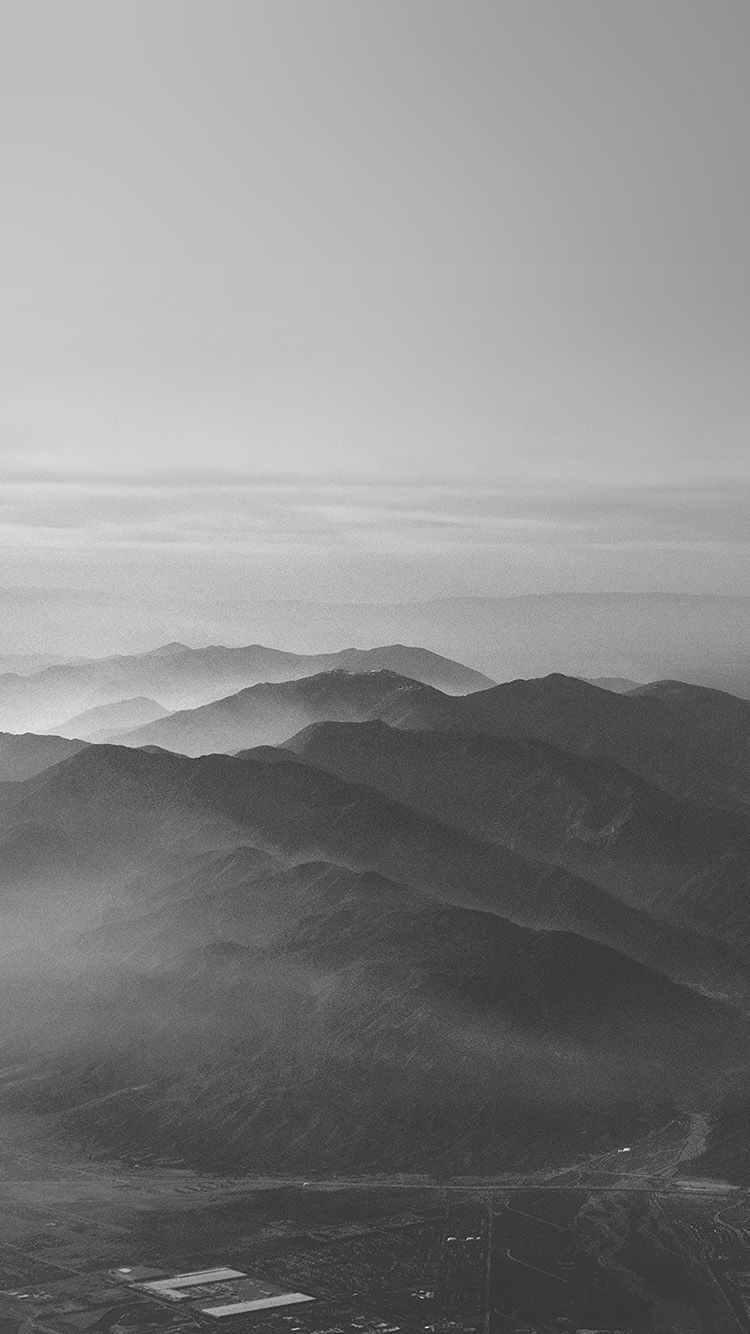 Mu40 Mountain Fog Nature Dark Bw Gray Sky View Grey Wallpaper