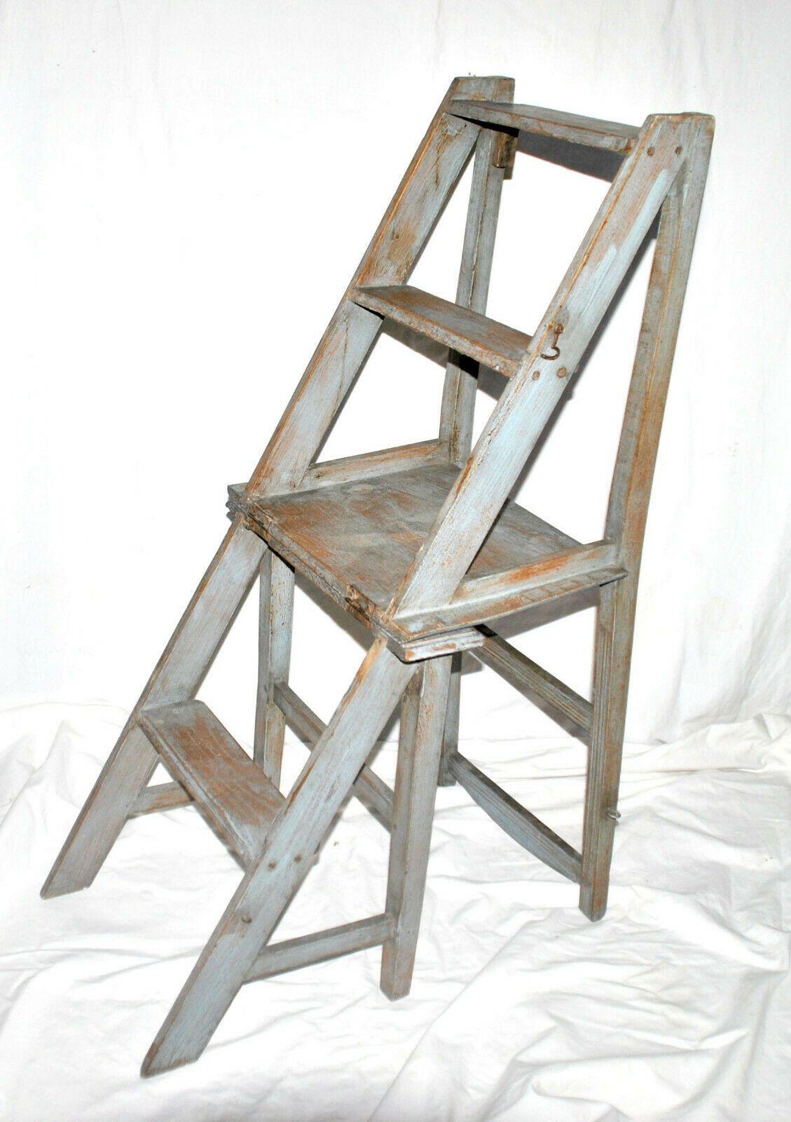 chaise escabeau en bois vintage