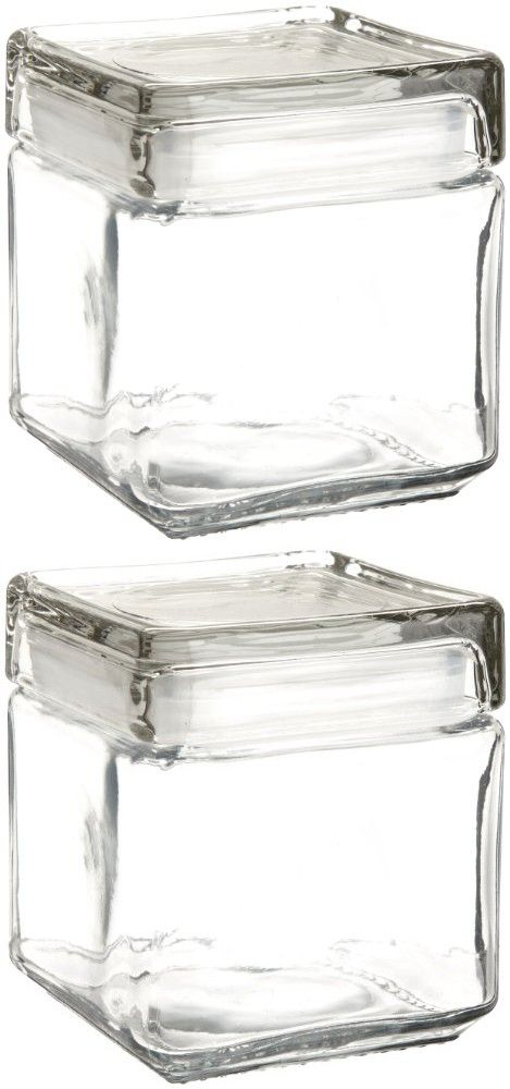 5d4fccf523d Anchor Hocking 85587R 1 Quart Stackable Square Clear Glass Storage Jar  (Case of 4)