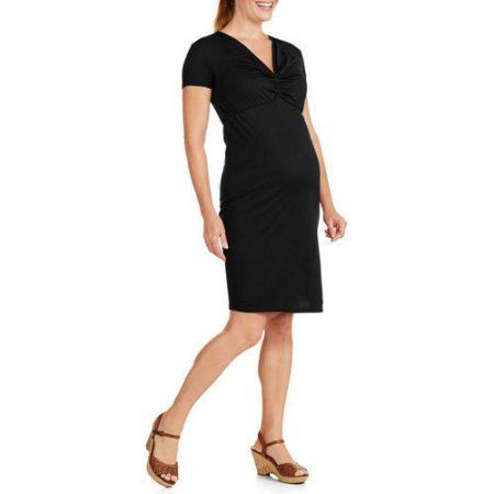 Maternity Short Sleeve Vneck Twist Front Dress, Size: XL, Black
