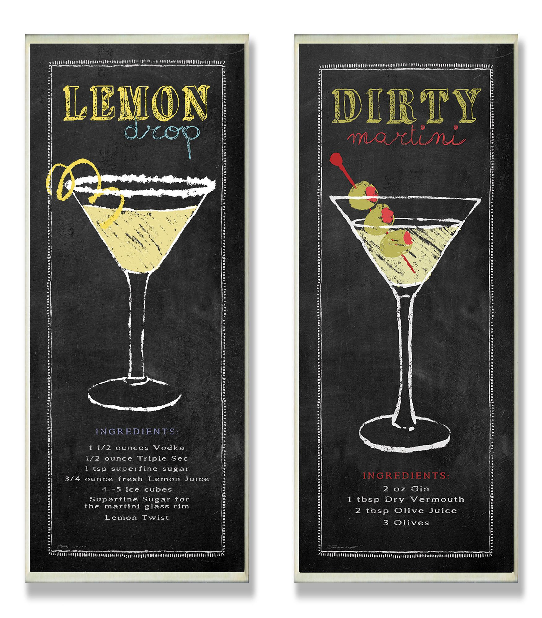 Lemon Drop And Dirty Martini Chalkboard Look 2 Piece Textual