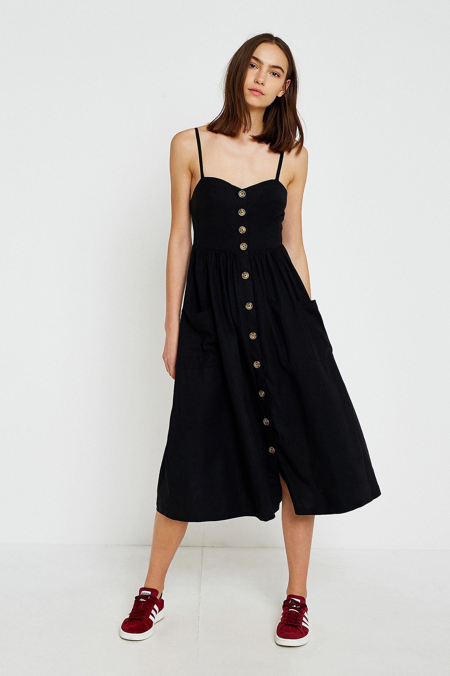 cfbc0633027 Slide View  1  UO Emilia Black Button-Through Midi Dress