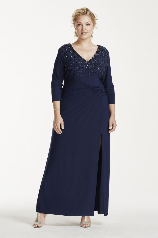 Plus Size 34 Sleeve Long Jersey Mother Of Bridegroom Dress With
