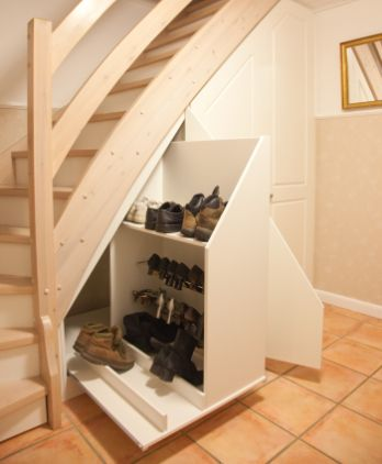 Stair Storage, Storage Solutions, Hallways, Stairways, Mudroom, Diy  Furniture, Tween, Ladders, Coat Storage
