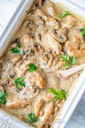 Creamy Chicken Casserole with mushrooms (aka Chicken Gloria) perfect for parties! | natashaskitchen.com #creamychickencasserole