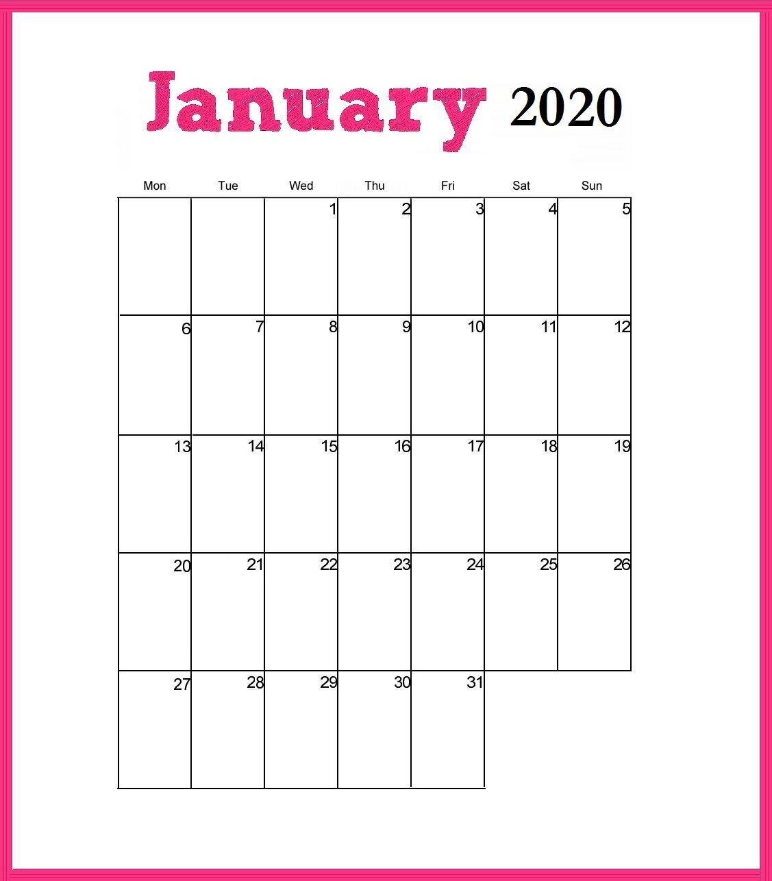 Printable January 2020 Cute Calendar