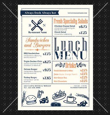 Retro Frame Restaurant Lunch Menu Design Layout Vector Image On Vectorstock Menu Design Layout Breakfast Menu Design Menu Design Template