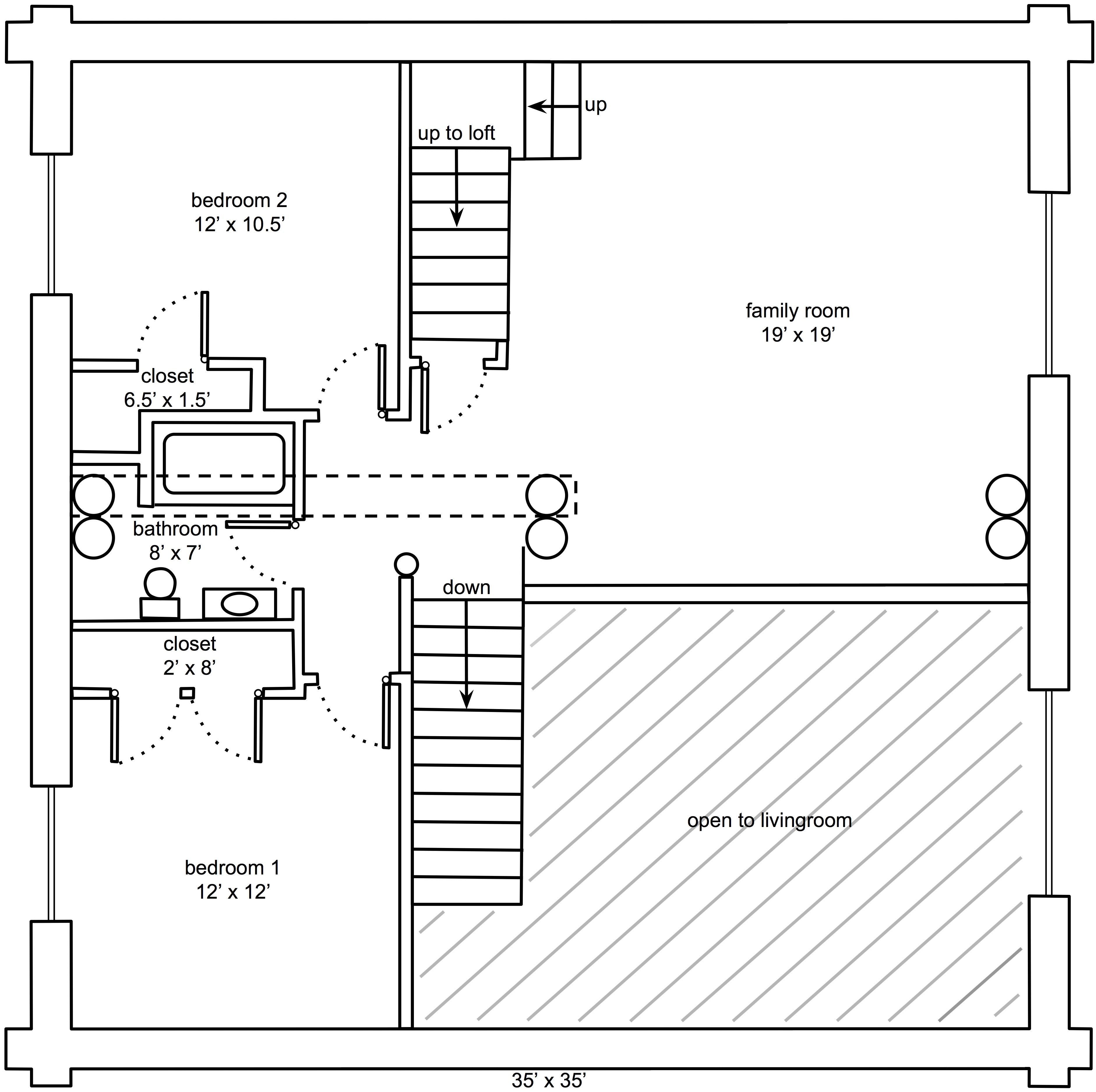 35 39 x 35 39 butt and pass log home floor plan upstairs by for Butt and pass log home