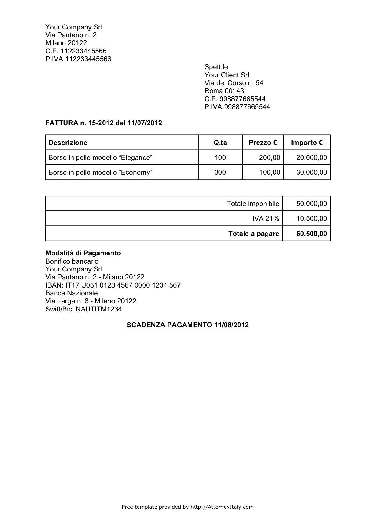 Italian Invoice Template Sales Invoice Template Invoice Example