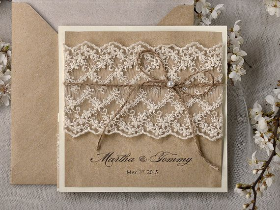 Recycling Paper, Lace Wedding Invitation, Pocket Fold Rustic Invitation , Shabby  Chic Wedding Invitation