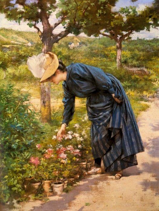 Gilbert, Victor Gabriel (b,1847)- Lady in Garden
