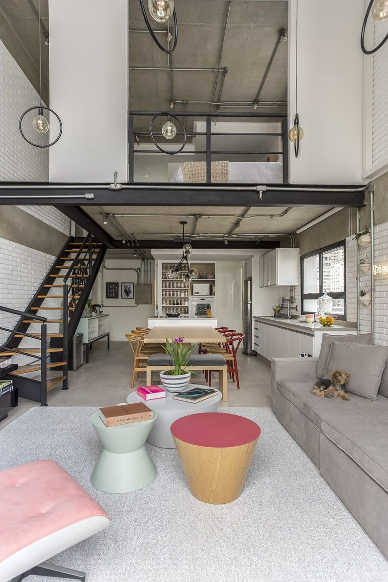 Loft industrial com paleta candy colors #loftdesign