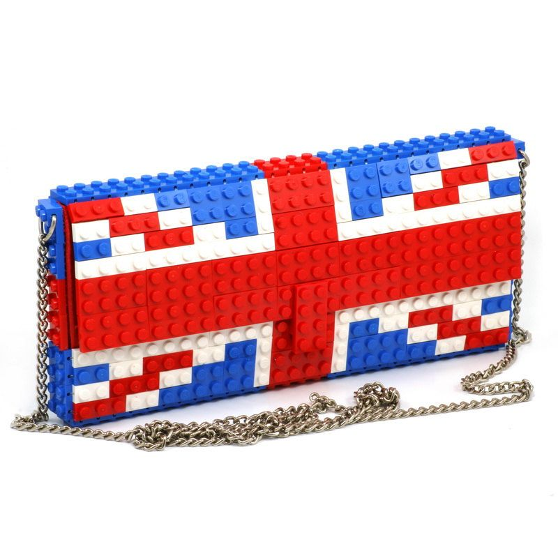 24a100c883 UK flag clutch on a chain made entirely of LEGO bricks. from agabag, via  Etsy.
