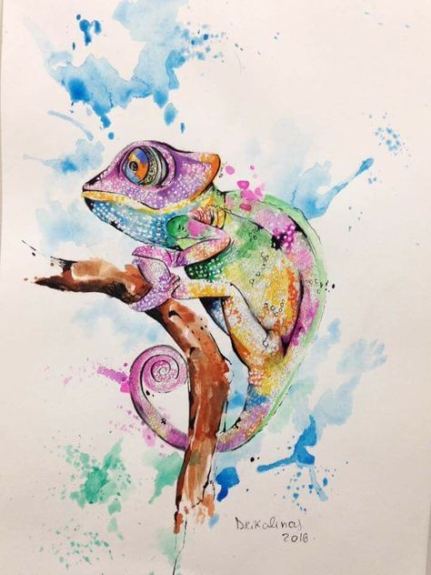 Photo of Tatouage aquarelle – # encre # camaleon # aquarela # aquarelle # tatouage #tatuagem # alineymarques…