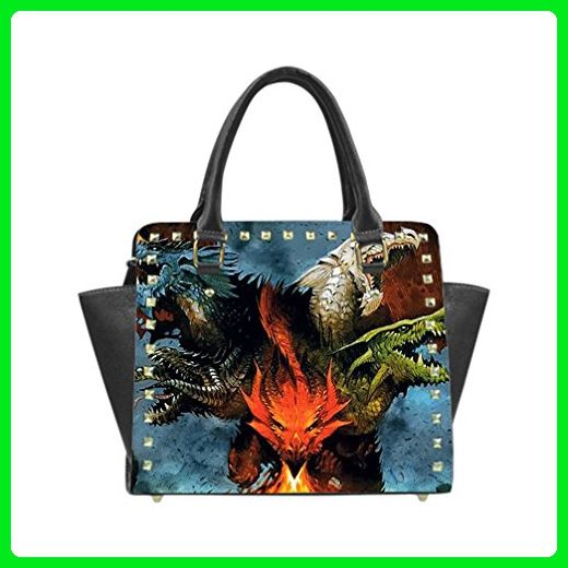 JIUDUIDODO Custom Best Gifts Delicate Dragon 3D print PU leather Casual Rivet Shoulder Handbag Top Handle Handbags Messenger Bags (Twin Sides) - Shoulder bags (*Amazon Partner-Link)