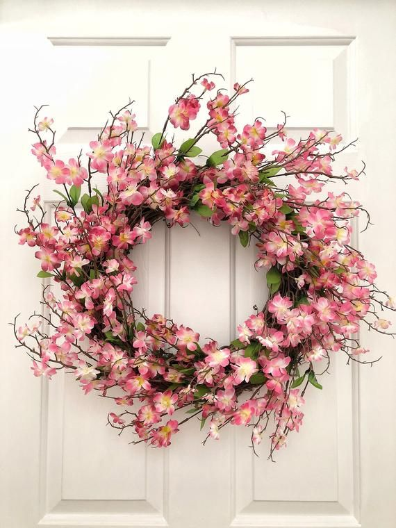 Pink Flower Wreath Wreaths Front Door Wreath Spring Wreath