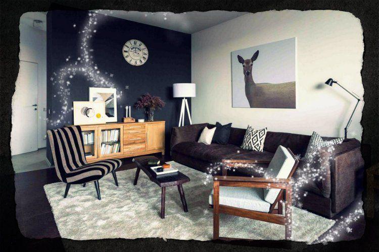 salon moderne intérieur décor de la maison, canapé gris canapé, bois ...