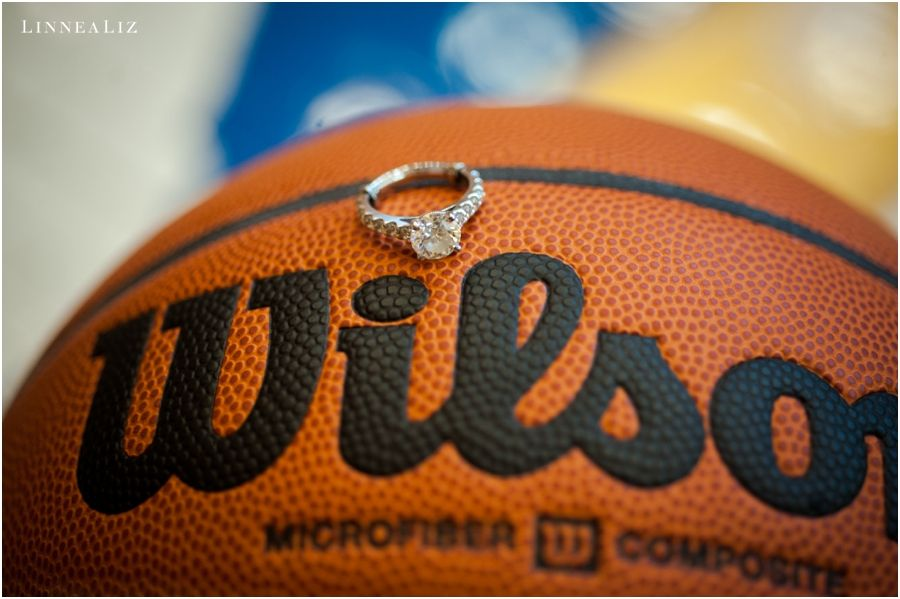 engagement ring and a basketball