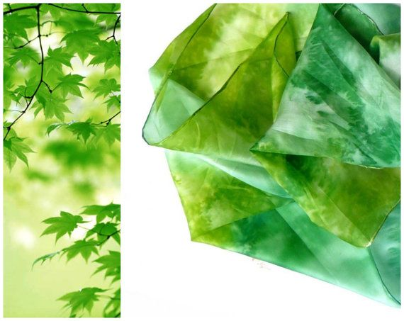 Fresh green silk scarf Green forest scarf Hand by AndreaSilk, $38.00