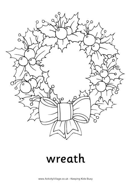 christmas wreath colouring page http www activityvillage co uk christmas wreath colouring page