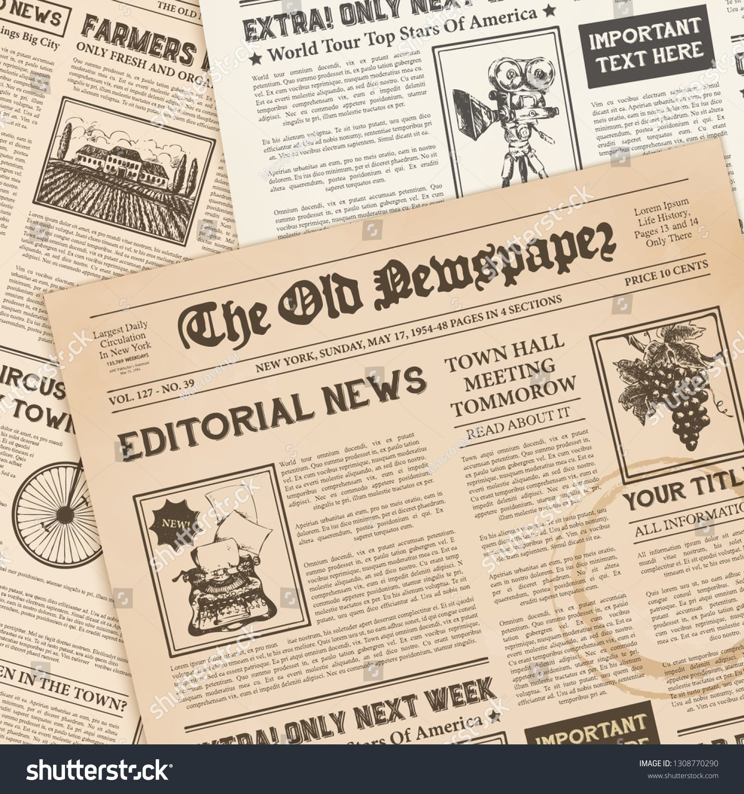 Newspaper Vector For Free Download Vintage Newspaper Newspaper Newspaper Design
