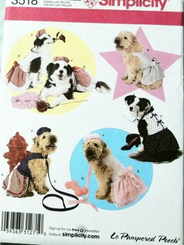 OOP Simplicity Pattern 3518 LXLXXL Dog Dress  One Size Hat  Leash or Neck 1426 *** Read more reviews of the product by visiting the link on the image.