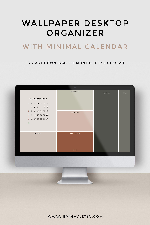 Windows Calendar 2021 Wallpaper organizer, Desktop calendar 2021, Minimalist background