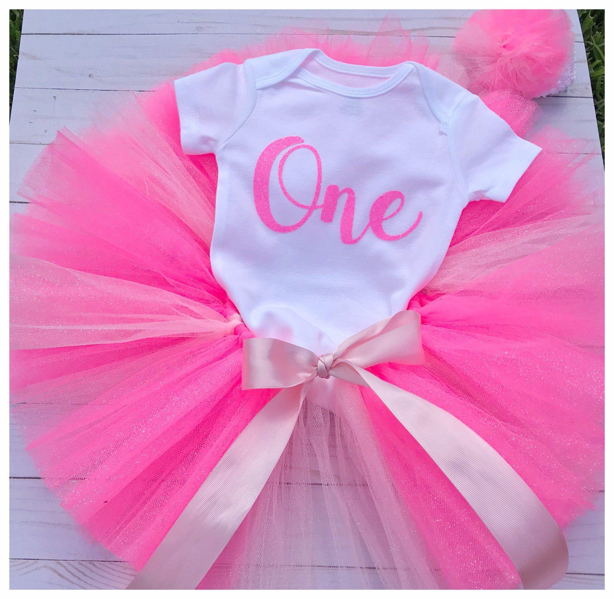 Luxury Girls 1st First Birthday Outfit Tutu Skirt Cake Smash Set Pink
