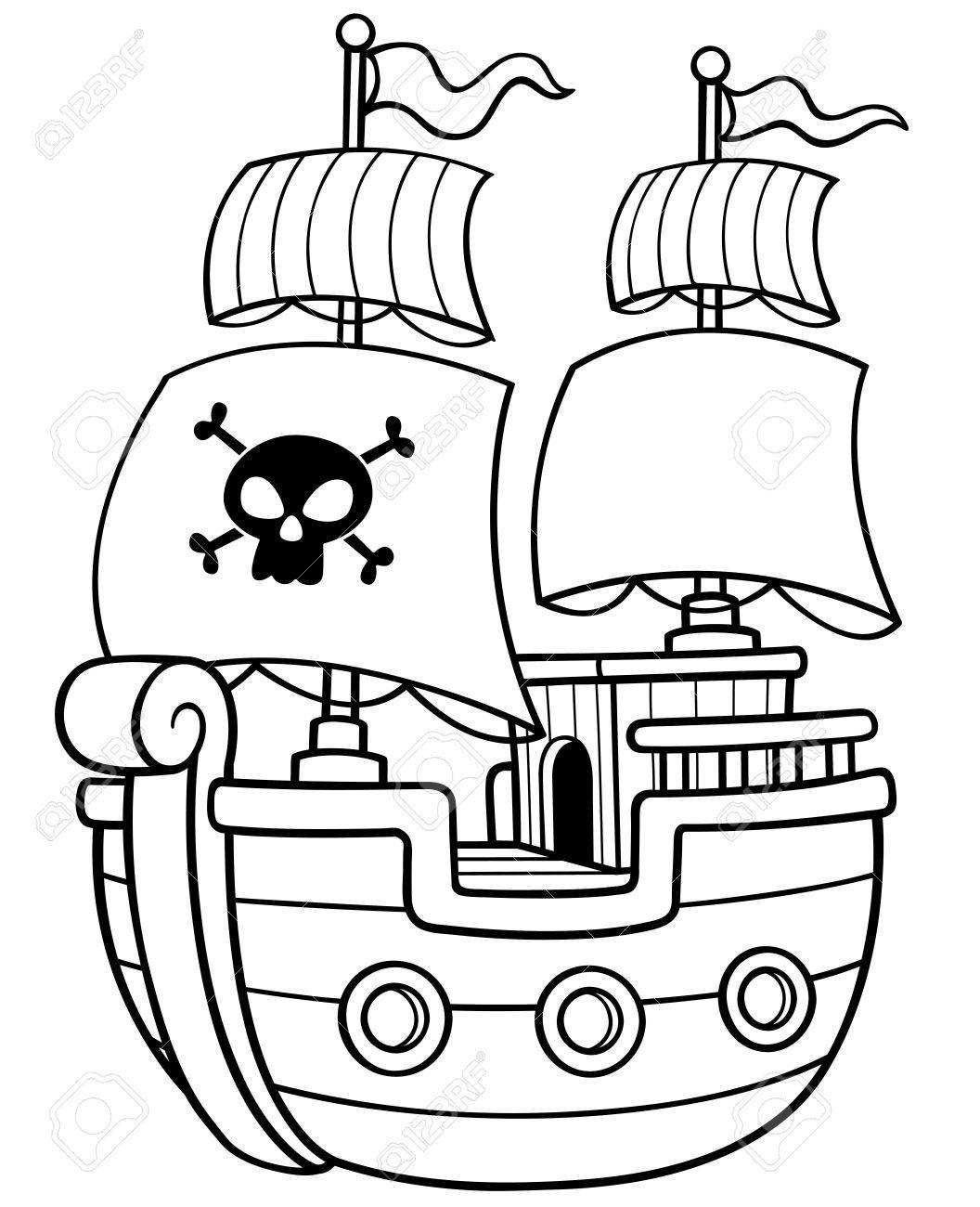 Illustration Vectorielle De Livre De Coloriage De Bateau De Pirate Pirates Dessin Coloriage Livre Coloriage