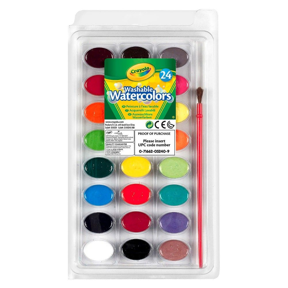 Crayola Watercolor Paints With Brush Washable 24ct Watercolor