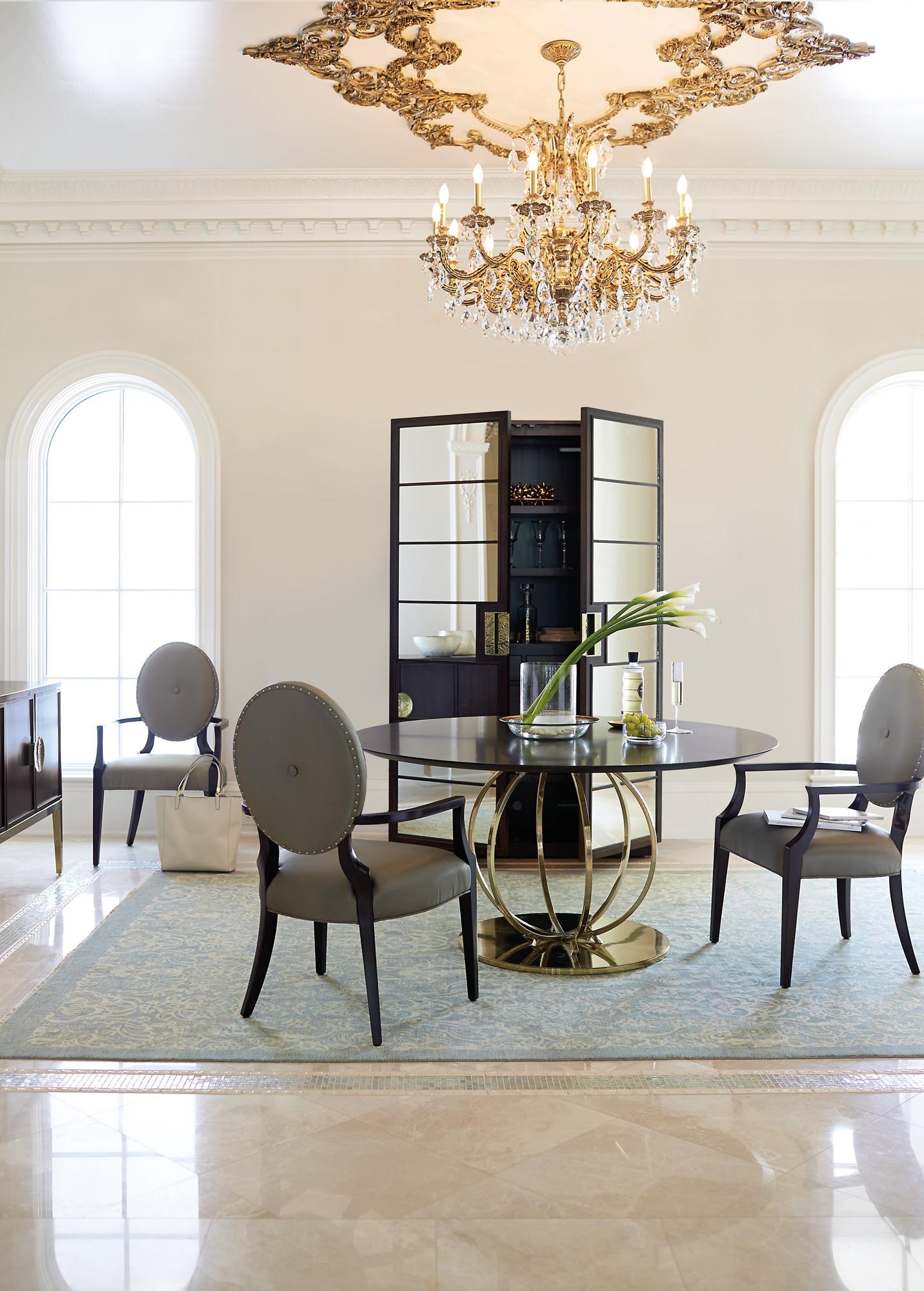 Bernhardt Jet Set Round Dining Table Arm Chairs Display