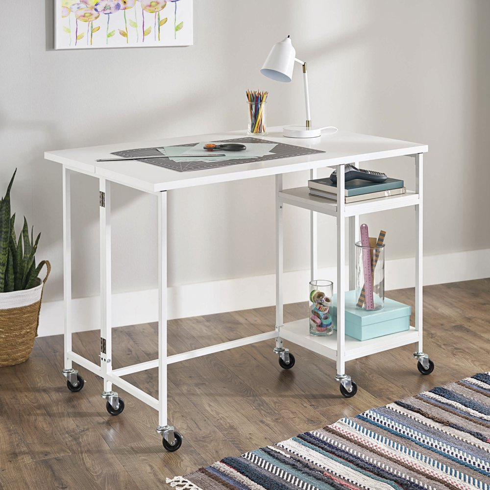 Better Homes Gardens Craftform Counter Height Fold Out Craft Table White Finish Walmart Com In 2021 Craft Table Craft Room Desk Counter Height Desk