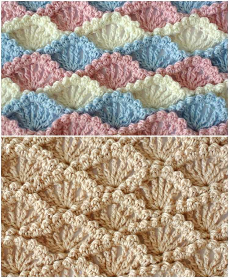 Textured Shell Crochet Stitch | Crochet bebe, Ganchillo y Bebe