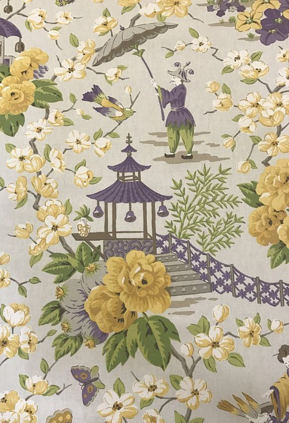 Purple And Yellow Chinoiserie Pagoda Asian Fabric Oriental