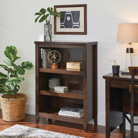 Better Homes And Gardens Parker 3 Shelf Bookcase Estate Toffee Finish At Walmart