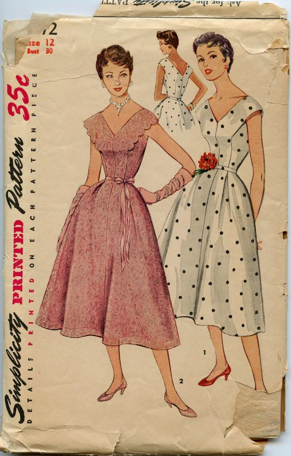 1950s Vintage Sewing Pattern Simplicity 4672 V by GreyDogVintage ...
