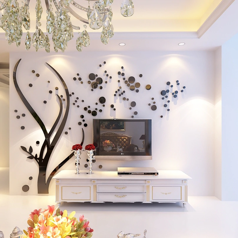 Modern Tree Mirror Crystal Acrylic Wall Stickers Living Room Tv