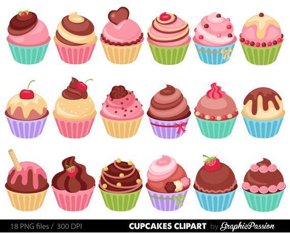 Cupcakes Clipart Digital Cupcake Clip Art Cupcake Digital Illustration Cupcake Vector Birthda Birthday Cake Illustration Cool Birthday Cakes Cake Illustration