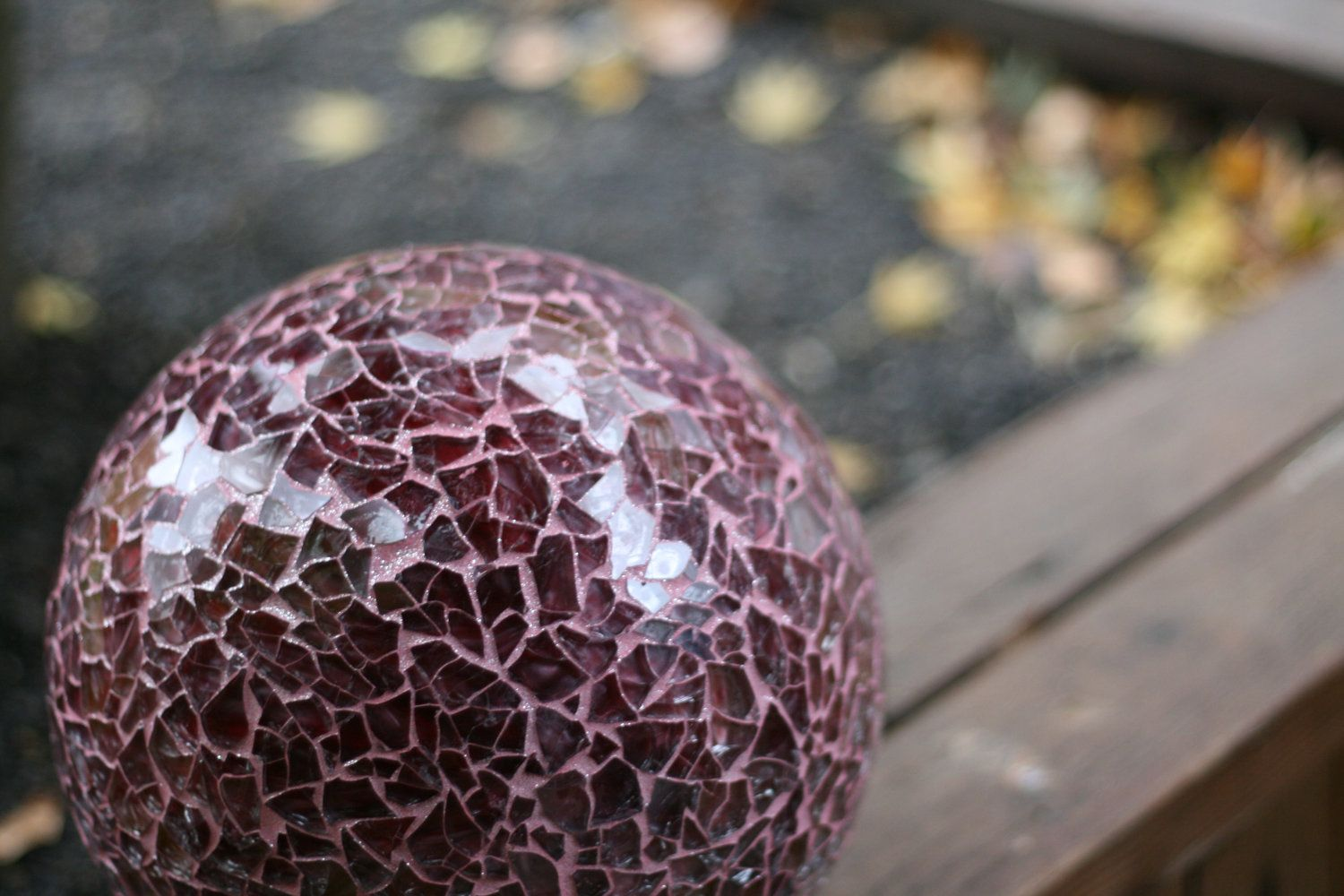 Created With A Recycled Bowling Ball And Reclaimed Glass From A Broken Shower Door This Garden Ball Was Grouted And Mosaic Garden Garden Spheres Garden Balls