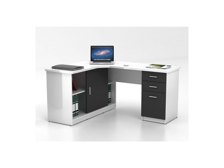 bureau d 39 angle norwy 2 portes 2 tiroirs blanc gris bureau bureau bureau angle tiroir. Black Bedroom Furniture Sets. Home Design Ideas