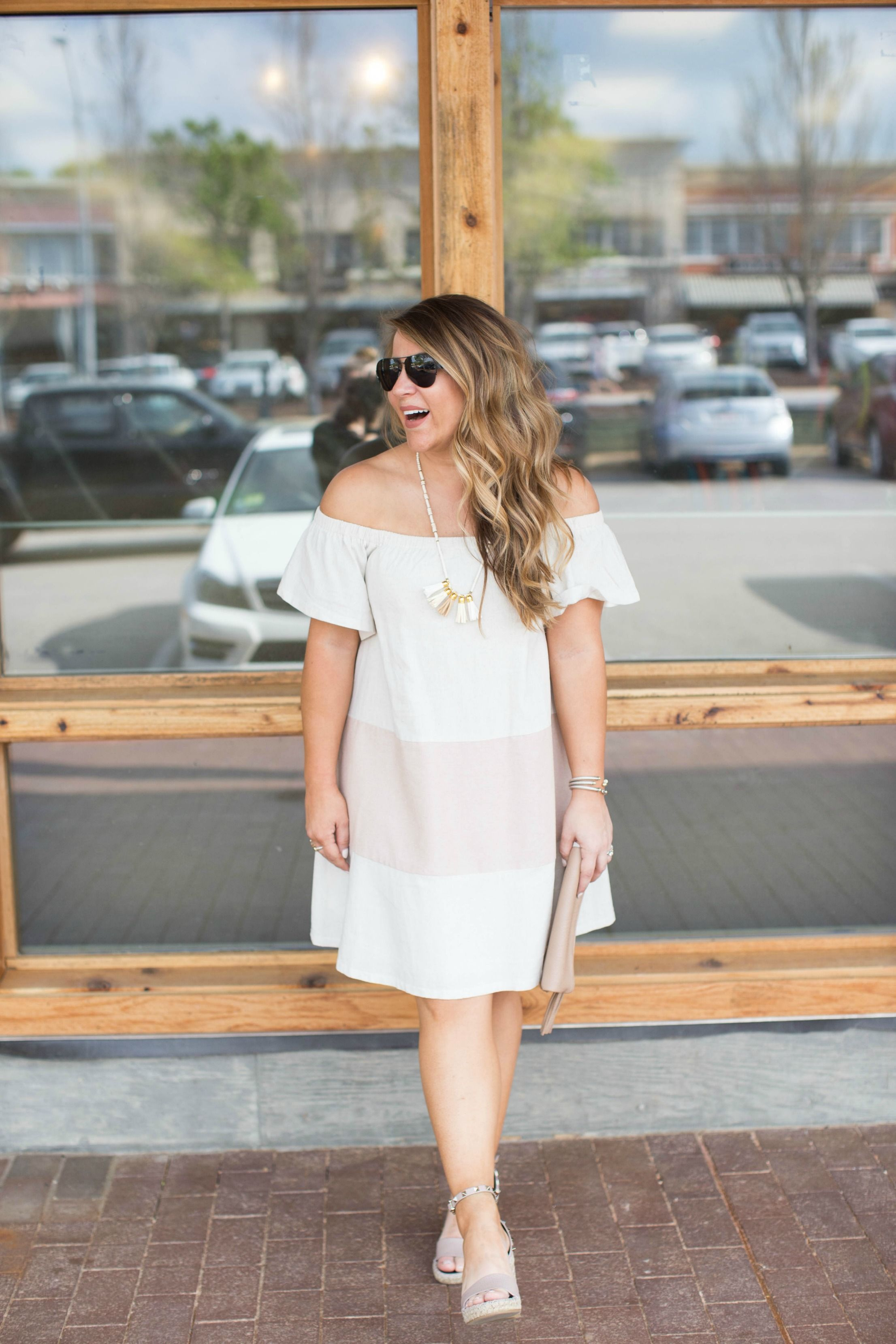 cdf903ddeed5 Off the shoulder dress - a spring dress makes for the easiest spring outfit  idea! Add some accessories and you re set. Click through for more on this  simple ...