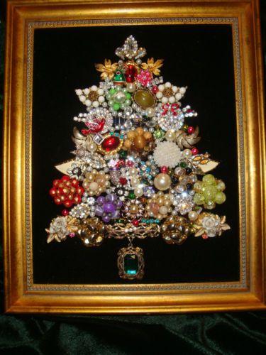 Beautiful Framed Jewelry Christmas Tree Vintage Mix Of Bling Jewelry Christmas Tree Christmas