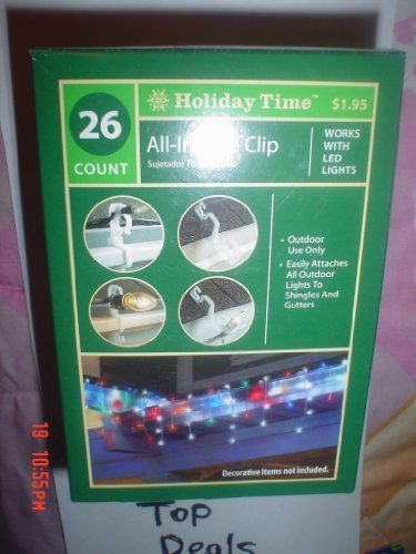 26 Count All in One Clips for Christmas Lights Holders for Outdoors by Holiday Time. $1.59. Easily Attaches All Outdoor Lights to Shingles and Gutters. Use for OUTDOOR Lights only. Works with Led Lights or Regular. Christmas or any Holiday Light Holders. 26 Clips Per Box. NEW in Box! 26 Clips Per Box. Easily Attaches All Outdoor Lights to Shingles and Gutters. Works with Led Lights or Regular. Use for OUTDOOR Lights only. Use for Your Christmas Lights or any other Holiday. ...